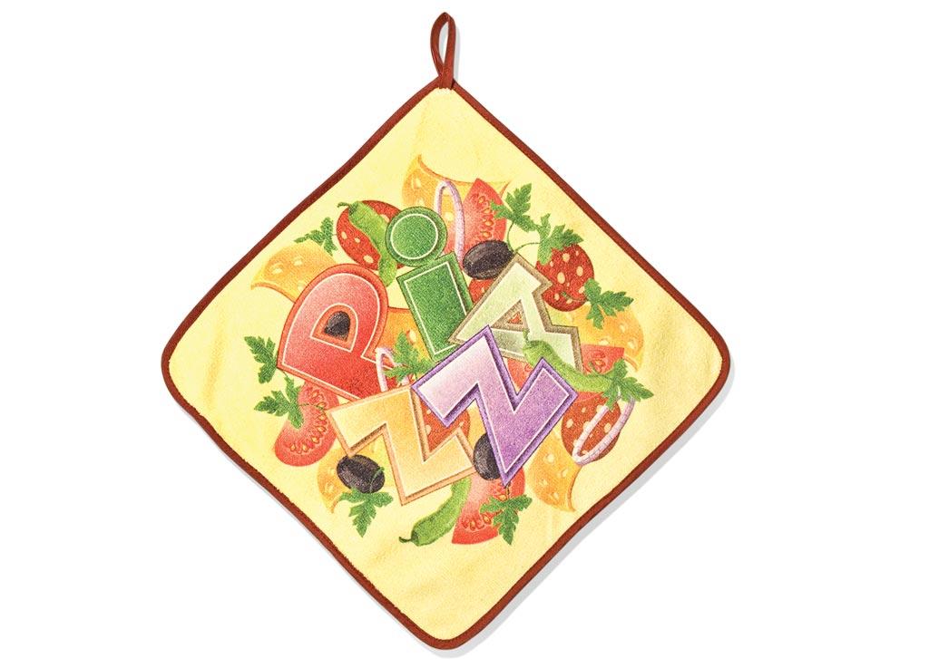 Салфетка кухонная Soavita Пицца, 30 х 30 смVT-1520(SR)Кухонная салфетка Soavita Пицца выполнена из микрофибры и оформлена ярким рисунком. Салфетка идеально подходит для сухой и влажной чистки. Полностью удаляет воду, не оставляя следа. В сухом виде подходит для деликатных поверхностей: стекол, зеркал, оптики, мониторов, мебели, бытовой техники и многого другого. Во влажном виде незаменима на кухне, в ванной, в уходе за автомобилем. Изделие дополнено окантовкой и оснащено петелькой для подвешивания на крючок. Перед использованием постирать при температуре не выше +40°С.