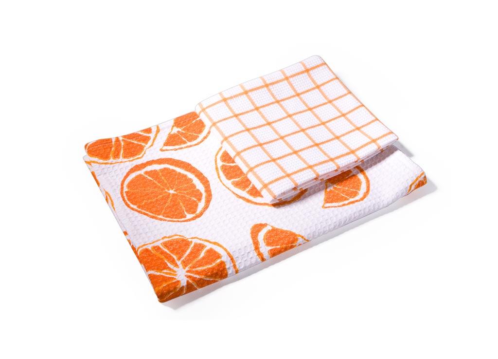 Набор кухонных полотенец Soavita Апельсин, 40 х 60 см, 2 штVT-1520(SR)Вафельные полотенца Soavita Апельсин выполнены из 100% хлопка и декорированы ярким рисунком. Изделия предназначены для использования на кухне и в столовой. Отлично впитывают влагу. Качество материала гарантирует безопасность не только взрослых, но и самых маленьких членов семьи. Полотенца Soavita идеально дополнят интерьер вашей кухни и создадут атмосферу уюта и комфорта.