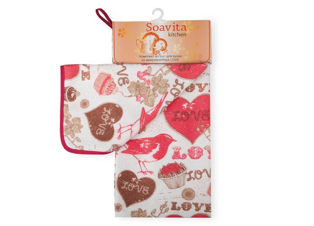 Комплект кухонный Soavita Love, 2 предмета80019Кухонный комплект Soavita Love состоит из полотенца и салфетки, выполненных из высококачественной микрофибры с ярким рисунком. Салфетка по краю окантована и дополнена петелькой. Изделия быстро впитывают влагу, легко стираются и обладают длительным сроком службы. Такой набор порадует вас практичностью и функциональностью, а стильный яркий дизайн гармонично дополнит интерьер кухни. Размер салфетки: 30 х 30 см. Размер полотенца: 38 х 64 см.