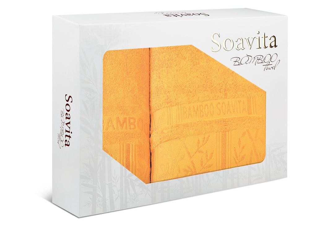 Набор махровых полотенец Soavita Sofia, цвет: желтый, 2 шт68/5/3Махровое полотно создается из хлопковых нитей, которые, в свою очередь, прядутся из множества хлопковых волокон. Чем длиннее эти волокна, тем прочнее будет нить, и, соответственно, изделие. Длина составляющих хлопковую нить волокон влияет и на фактуру получаемой ткани: чем они длиннее, тем мягче и пушистее получится махровое изделие, тем лучше будет впитывать изделие воду. Хотя на впитывающие качество махры – ее гигроскопичность, не в последнюю очередь влияет состав волокна. Мягкая махровая ткань отлично впитывает влагу и быстро сохнет.