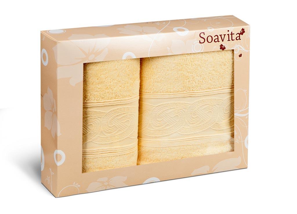 Набор махровых полотенец Soavita Жемчуг, цвет: желтый, 2 шт70297Набор Soavita Жемчуг состоит из двух махровых полотенец, выполненных из тенселя и хлопка. Полотенца дополнены изысканным бордюром с рельефным орнаментом. Мягкие махровые полотенца отлично впитывают влагу, быстро сохнут, отличаются устойчивостью окраски, не теряют своих свойств после многократных стирок. Махровое полотно создается из хлопковых нитей, которые, в свою очередь, прядутся из множества хлопковых волокон. Чем длиннее эти волокна, тем прочнее будет нить и соответственно изделие. Длина составляющих хлопковую нить волокон влияет и на фактуру получаемой ткани: чем они длиннее, тем мягче и пушистее получится махровое изделие, тем лучше будет впитывать изделие воду. На впитывающие качества махры - ее гигроскопичность не в последнюю очередь влияет состав волокна.