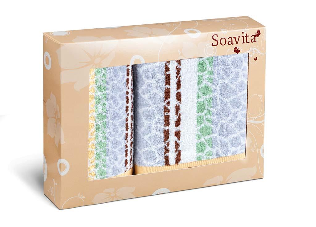 Набор махровых полотенец Soavita Niki, цвет: желтый, 2 шт12727Махровое полотно создается из хлопковых нитей, которые, в свою очередь, прядутся из множества хлопковых волокон. Чем длиннее эти волокна, тем прочнее будет нить, и, соответственно, изделие. Длина составляющих хлопковую нить волокон влияет и на фактуру получаемой ткани: чем они длиннее, тем мягче и пушистее получится махровое изделие, тем лучше будет впитывать изделие воду. Хотя на впитывающие качество махры – ее гигроскопичность, не в последнюю очередь влияет состав волокна. Мягкая махровая ткань отлично впитывает влагу и быстро сохнет. Soavita – это популярный бренд домашнего текстиля. Дизайнерская студия этой фирмы находится во Флоренции, Италия. Производство перенесено в Китай, чтобы сделать продукцию более доступной для покупателей. Таким образом, вы имеете возможность покупать продукцию европейского качества совсем не дорого. Домашний текстиль прослужит вам долго: все детали качественно прошиты, ткани очень плотные, рисунок наносится безопасными для здоровья красителями, не линяет и держится много лет. Все изделия упакованы в подарочные упаковки.