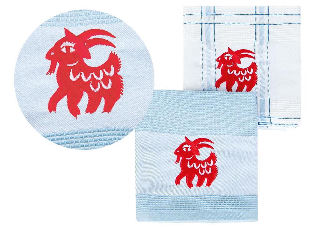 Набор кухонных полотенец Soavita Символ Года цвет: голубой, 43 х 68 см, 2 шт1004900000360Перед использованием постирать при температуре не выше 40 градусов