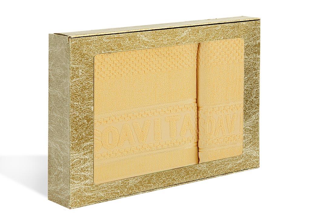 Набор махровых полотенец Soavita Бронза, цвет: желтый, 2 шт391602Махровое полотно создается из хлопковых нитей, которые, в свою очередь, прядутся из множества хлопковых волокон. Чем длиннее эти волокна, тем прочнее будет нить, и, соответственно, изделие. Длина составляющих хлопковую нить волокон влияет и на фактуру получаемой ткани: чем они длиннее, тем мягче и пушистее получится махровое изделие, тем лучше будет впитывать изделие воду. Хотя на впитывающие качество махры – ее гигроскопичность, не в последнюю очередь влияет состав волокна. Мягкая махровая ткань отлично впитывает влагу и быстро сохнет.