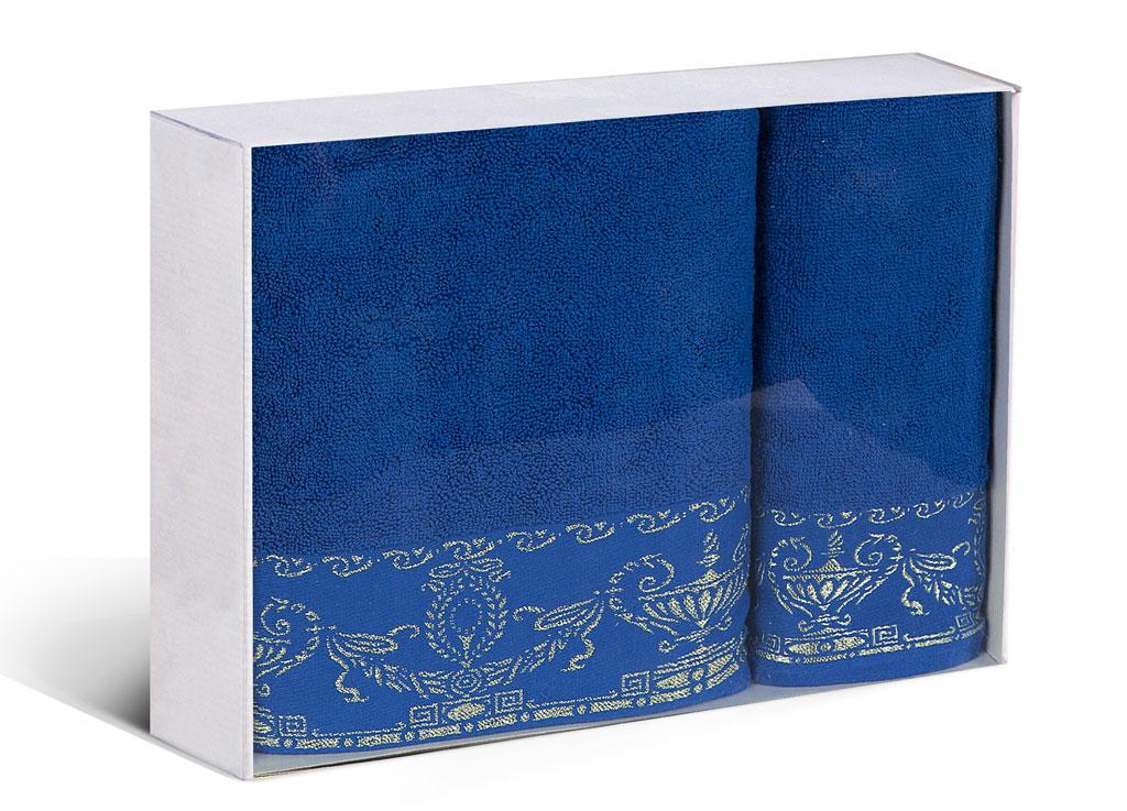Набор махровых полотенец Soavita Амфора, цвет: синий, 2 шт68/5/2Набор Soavita Амфора состоит из двух полотенец разного размера, выполненных из высококачественного махрового полотна с оригинальным узором. Махровое полотно создается из хлопковых нитей, которые, в свою очередь, прядутся из множества хлопковых волокон. Чем длиннее эти волокна, тем прочнее будет нить, и, соответственно, изделие. Длина составляющих хлопковую нить волокон влияет и на фактуру получаемой ткани: чем они длиннее, тем мягче и пушистее получится махровое изделие, тем лучше будет впитывать изделие воду. Хотя на впитывающие качество махры - ее гигроскопичность, не в последнюю очередь влияет состав волокна. Мягкая махровая ткань отлично впитывает влагу и быстро сохнет. Размер полотенец: 45 х 80 см, 65 х 125 см.