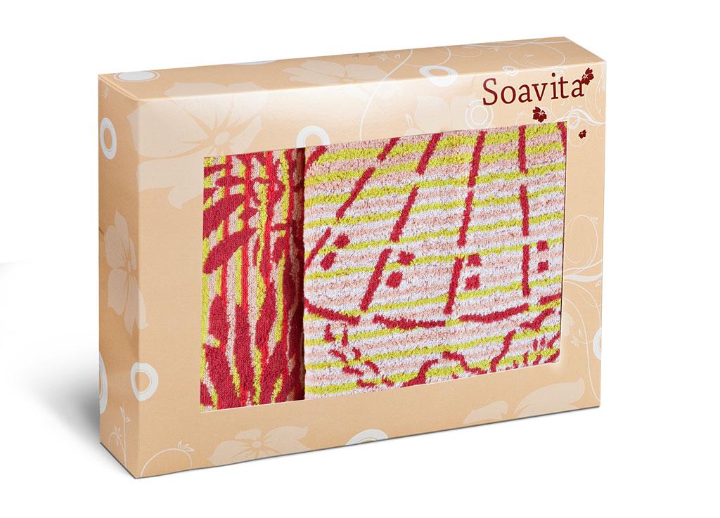 Набор махровых полотенец Soavita Веер, цвет: розовый, 2 шт68/5/4Махровое полотно создается из хлопковых нитей, которые, в свою очередь, прядутся из множества хлопковых волокон. Чем длиннее эти волокна, тем прочнее будет нить, и, соответственно, изделие. Длина составляющих хлопковую нить волокон влияет и на фактуру получаемой ткани: чем они длиннее, тем мягче и пушистее получится махровое изделие, тем лучше будет впитывать изделие воду. Хотя на впитывающие качество махры – ее гигроскопичность, не в последнюю очередь влияет состав волокна. Мягкая махровая ткань отлично впитывает влагу и быстро сохнет.