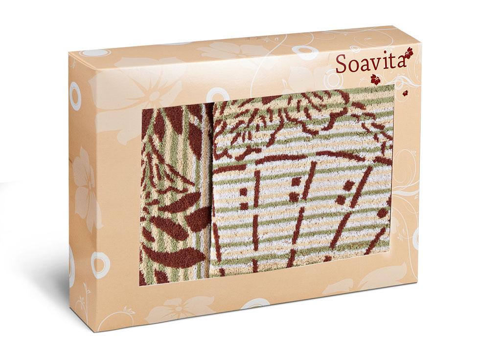 Набор махровых полотенец Soavita Веер, цвет: бежевый, 2 шт68/5/3Махровое полотно создается из хлопковых нитей, которые, в свою очередь, прядутся из множества хлопковых волокон. Чем длиннее эти волокна, тем прочнее будет нить, и, соответственно, изделие. Длина составляющих хлопковую нить волокон влияет и на фактуру получаемой ткани: чем они длиннее, тем мягче и пушистее получится махровое изделие, тем лучше будет впитывать изделие воду. Хотя на впитывающие качество махры – ее гигроскопичность, не в последнюю очередь влияет состав волокна. Мягкая махровая ткань отлично впитывает влагу и быстро сохнет.