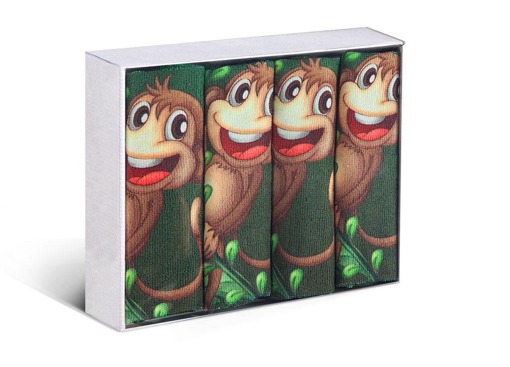 Набор кухонных полотенец Soavita Monkey, цвет: черный, коричневый, зеленый, 38 х 64 см, 4 штVT-1520(SR)Набор Soavita Monkey состоит из четырех кухонных полотенец, выполненных из высококачественной микрофибры и оформленных ярким рисунком с изображением забавных обезьянок. Микрофибра - материал высочайшего качества, изготовленный из сложных микроволокон, по ощущениям напоминает велюр и передающий уникальное и невероятное чувство мягкости. Ткань из микрофибры дышащая, устойчива к загрязнениям и пятнам, сохраняет свой высококачественный внешний вид и уникальную мягкость в течение всего срока службы. Размер полотенец: 38 х 64 см.