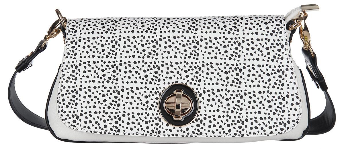 Сумка женская Calipso, цвет: черный, белый. 465-011286-231S76245Изысканная женская сумка Calipso выполнена из искусственной кожи.Сумка состоит из одного основного отделения, закрывающегося на пластиковую застежку-молнию и дополнительно клапаном на замок-вертушку. Клапан оформлен оригинальным принтом. Модель содержит врезной карман на молнии, небольшой накладной кармашек и ремешок с кольцом для ключей. На задней стенке изделия расположен врезной карман на молнии.Сумка оснащена съемной ручкой и съемным плечевым ремнем, регулируемой длины.Прилагается фирменный текстильный чехол для хранения.Сумка - это стильный аксессуар, который сделает ваш образ изысканным и завершенным. Оригинальное оформление сумки Calipso подчеркнет ваше отменное чувство стиля.