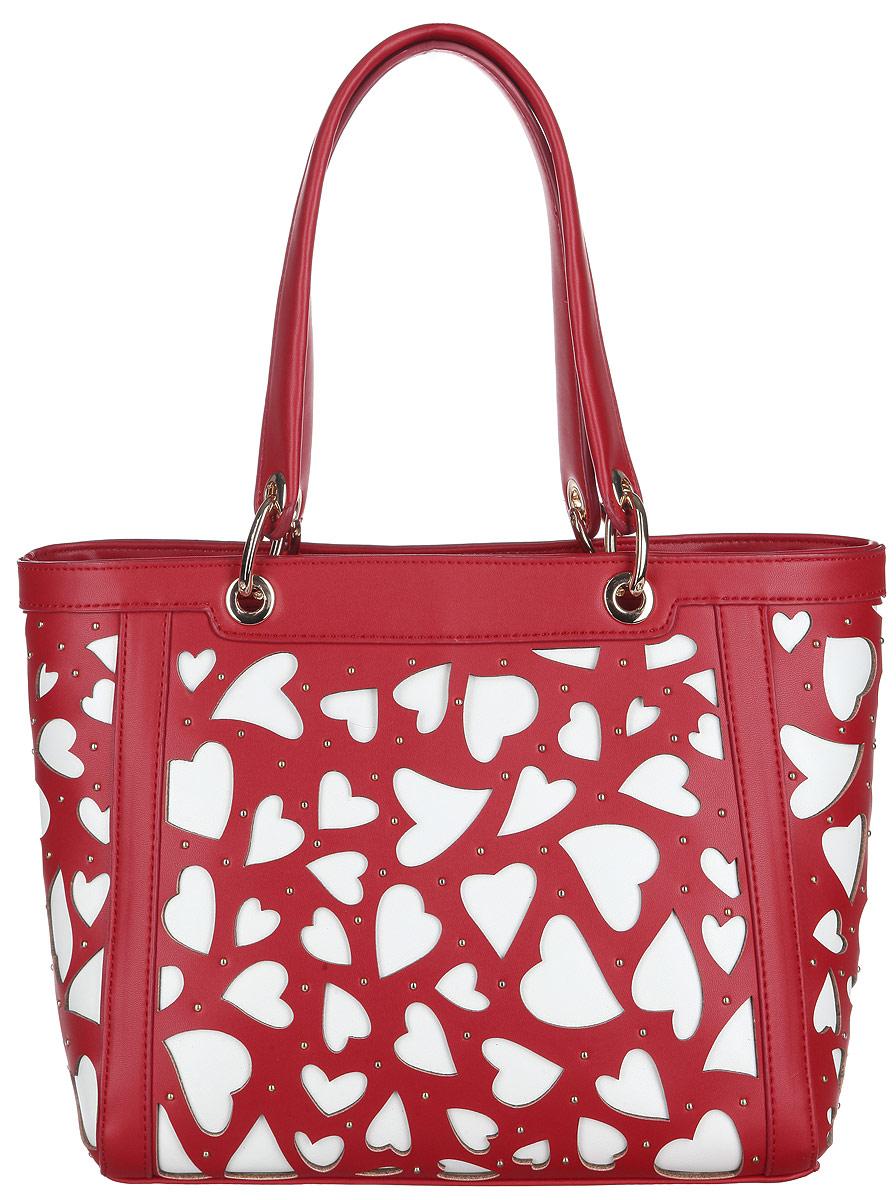 Сумка женская Calipso, цвет: красный, белый. 469-041286-231S76245Стильная женская сумка Calipso выполнена из искусственной гладкой кожи. Модель оформлена оригинальной вырубкой в форме сердечек и маленькими металлическими кнопками.Модель состоит из одного основного отделения, закрывающегося на пластиковую застежку-молнию. Изделие содержит врезной карман на молнии, небольшой нашивной карман на молнии, открытый карман, два накладных кармана для мелочей и ремешок с кольцом для ключей. На тыльной стороне сумки предусмотрен врезной карман на молнии. Плоское дно сумки обеспечивает необходимую устойчивость.Сумка оснащена двумя удобными ручками, дополненными металлическими кольцами у основания.Прилагается съемный плечевой ремень, регулируемой длины и фирменный текстильный чехол для хранения.Сумка - это стильный аксессуар, который сделает ваш образ изысканным и завершенным. Классические формы и оригинальное оформление сумки Calipso подчеркнет ваше отменное чувство стиля.