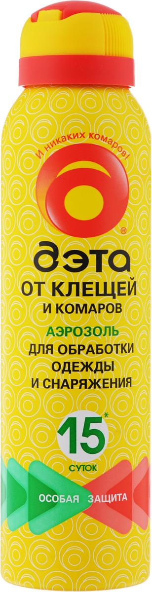Аэрозоль от клещей и комаров Дэта, для обработки одежды и снаряжений, 150 мл106-026Аэрозоль Дэта обеспечивает надежную защиту от лесных и таежных (иксодовых) клещей - переносчиков и возбудителей клещевого энцефалита и боррелиоза. Не оставляет пятен на тканях. Предназначен для обработки одежды и снаряжения.Состав: 0,2% альфациперметрин, 10% N,N-диэтил-m-толуамид, спирт изопропиловый, пропиленгликоль, экстракт пихты, пропеллент углеводородный.Товар сертифицирован.