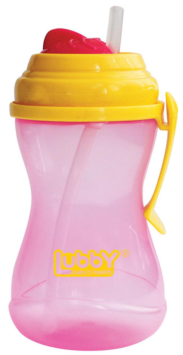 Lubby Поильник-непроливайка Twist с трубочкой от 6 месяцев цвет розовый желтый 320 мл