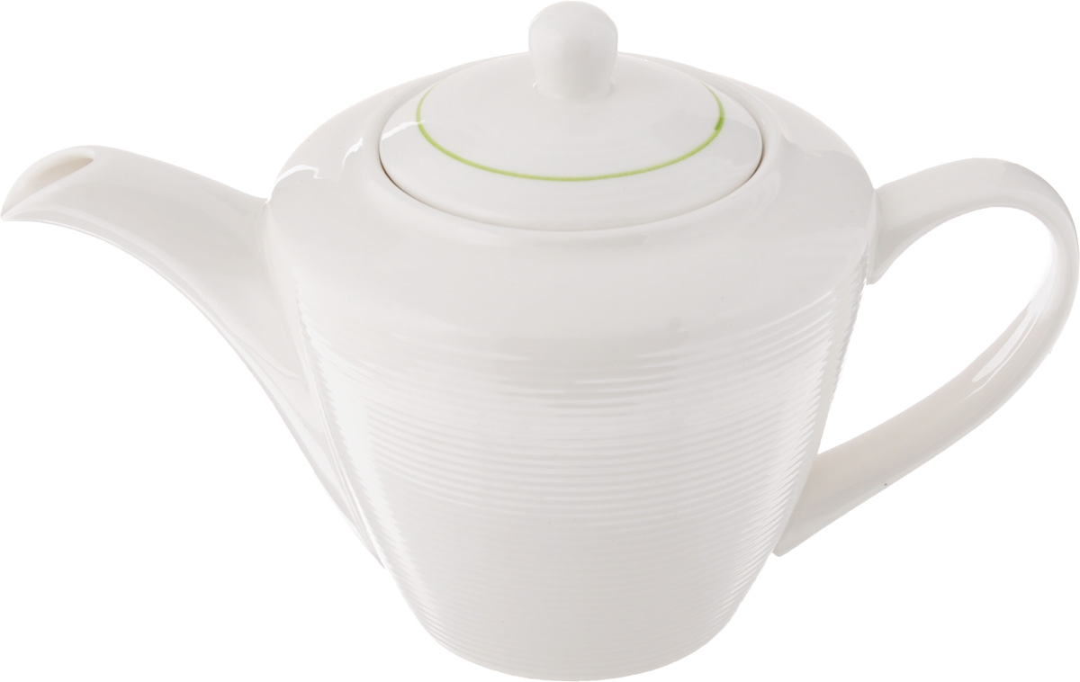 Чайник заварочный Gumertal Зеленая линия, цвет: белый, зеленый, 500 млVT-1520(SR)Заварочный чайник Gumertal Зеленая линияизготовлен из высококачественной керамики с гладким глазурованным покрытием. Чайник снабжен удобной ручкой и широким носиком. В основании носика расположены фильтрующие отверстия от попадания чаинок в чашку. Изысканный заварочный чайник украсит сервировку стола к чаепитию. Благодаря красивому утонченному дизайну и качеству исполнения он станет хорошим подарком друзьям и близким.Не рекомендуется применять абразивные моющие средства. допускается использование в микроволновой печи и холодильнике. Можно мыть в посудомоечной машине. Диаметр чайника (по верхнему краю): 6 см. Высота чайника (без учета крышки): 10,5 см.