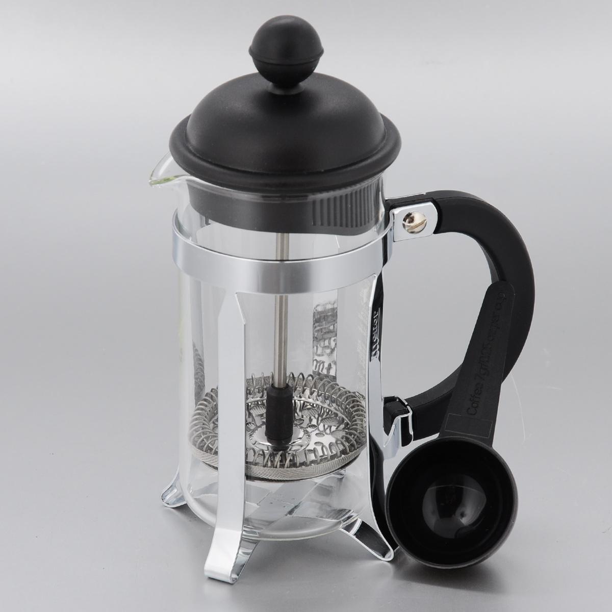 Френч-пресс Melior, с мерной ложкой, 350 млVT-1520(SR)Френч-пресс Melior позволит быстро и просто приготовить свежий и ароматный кофе или чай. Цветовая гамма подойдет даже для самого яркого интерьера. Френч-пресс изготовлен из высокотехнологичных материалов на современном оборудовании:- корпус изготовлен из высококачественного жаропрочного стекла, устойчивого к окрашиванию и царапинам;- фильтр-поршень из нержавеющей стали выполнен по технологии Press-Up для обеспечения равномерной циркуляции воды;- подставка из высококачественного силикона препятствует скольжению френч-пресса.Практичный и стильный дизайн френч-пресса Melior полностью соответствует последним модным тенденциям в создании предметов бытового назначения.В комплект входит мерная ложка. Можно мыть в посудомоечной машине.Диаметр по верхнему краю: 7 см.Высота (с учетом крышки): 18,5 см.Длина ложки: 10 см.Диаметр рабочей части: 4 см.