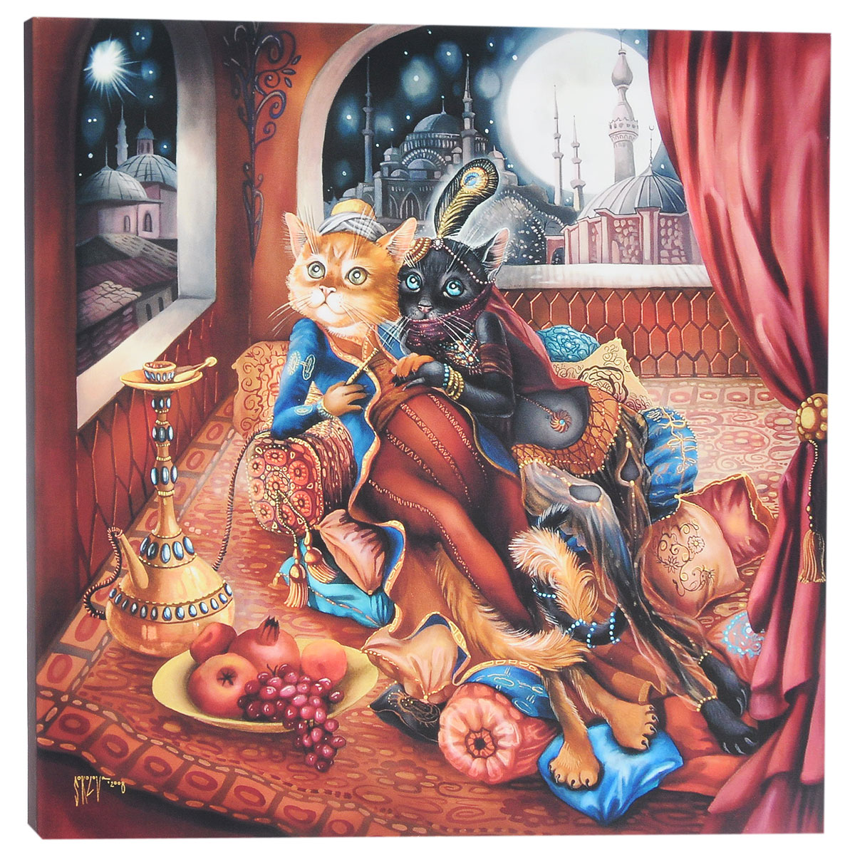 КвикДекор Картина детская Восточная сказкаRG-D31SКартина КвикДекор Восточная сказка - это прекрасное украшение для вашей гостиной, детской или спальни. Она привнесет в интерьер яркий акцент и сделает обстановку комфортной и уютной.Автор картины - Надежда Соколова - родилась в 1973 году в городе Дрездене. В 1986-1990 годах училась в Художественной школе города Новгорода. В 1995 году окончила с отличием рекламное отделение Новгородского училища культуры. В 2000 году защитила диплом на факультете Искусств и Технологий НовГУ имени Ярослава Мудрого. Выставляется с 1996 года. Работает в техниках: живопись, графика, батик, лаковая миниатюра, авторская кукла. Является автором оригинального стиля в миниатюре.Изделие представляет собой картину с латексной печатью на натуральном хлопчатобумажном холсте. Галерейная натяжка на деревянный подрамник выполнена очень аккуратно, а боковые части картины запечатаны тоновой заливкой. Обратная сторона подрамника содержит отверстие, благодаря которому картину можно легко закрепить на стене и подкорректировать ее положение.Картина Восточная сказка станет отличным украшением любого помещения, а также оригинальным подарком родным и близким.