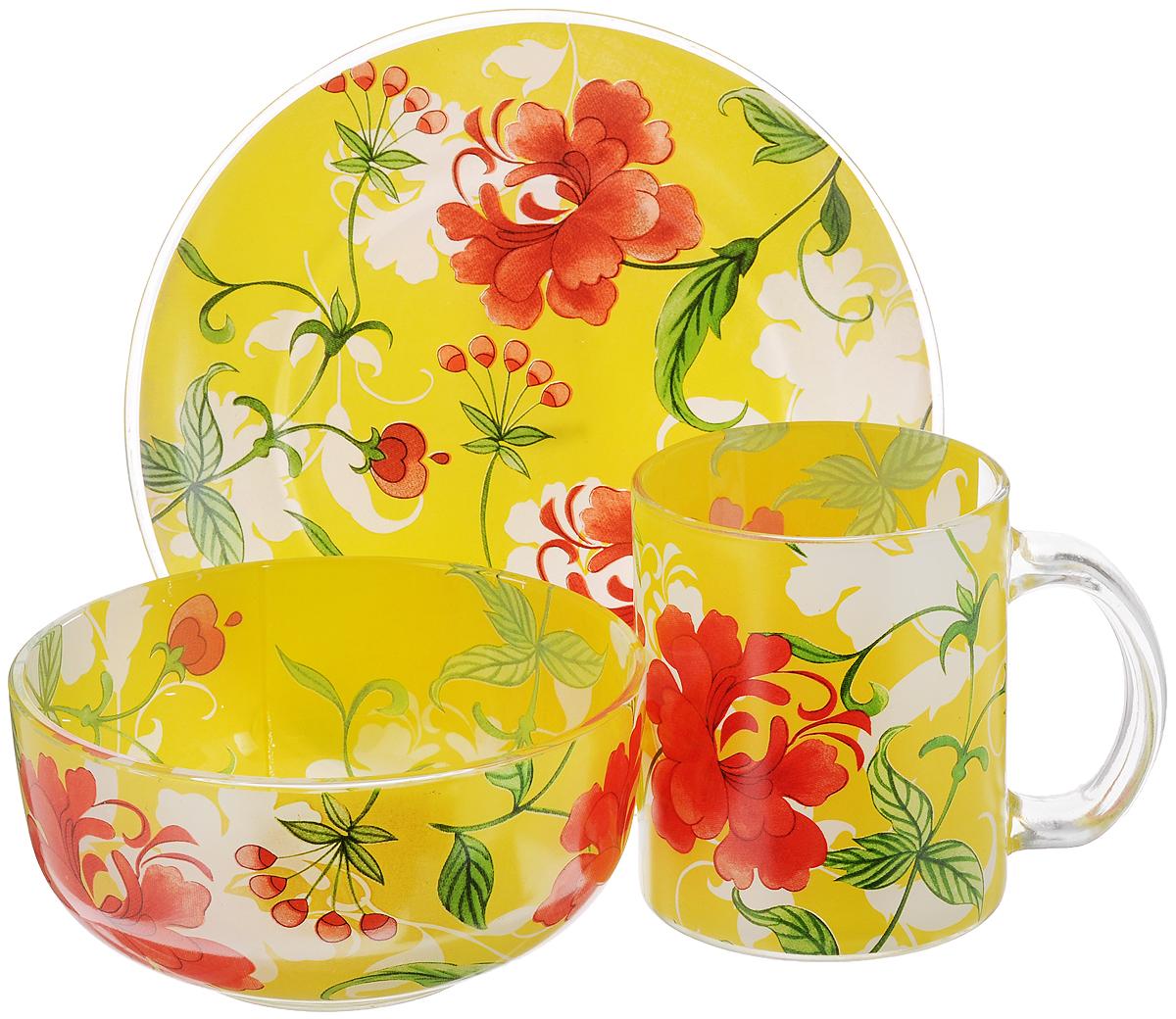 Набор для завтрака Bekker Koch, 3 предметаVT-1520(SR)Набор для завтрака Bekker Koch состоит из тарелки, салатника и кружки. Предметы набора выполнены из высококачественного жаропрочного стекла и оформлены ярким цветочным рисунком. Стильный дизайн, несомненно, придется вам по вкусу.Набор для завтрака Bekker Koch украсит ваш кухонный стол, а также станет замечательным подарком к любому празднику.Диаметр кружки (по верхнему краю): 8 см.Высота кружки: 9,5 см.Объем кружки: 350 мл.Диаметр тарелки: 18,5 см.Высота тарелки: 2 см.Диаметр салатника: 13,2 см.Высота салатника: 6,5 см.Объем салатника: 600 мл.