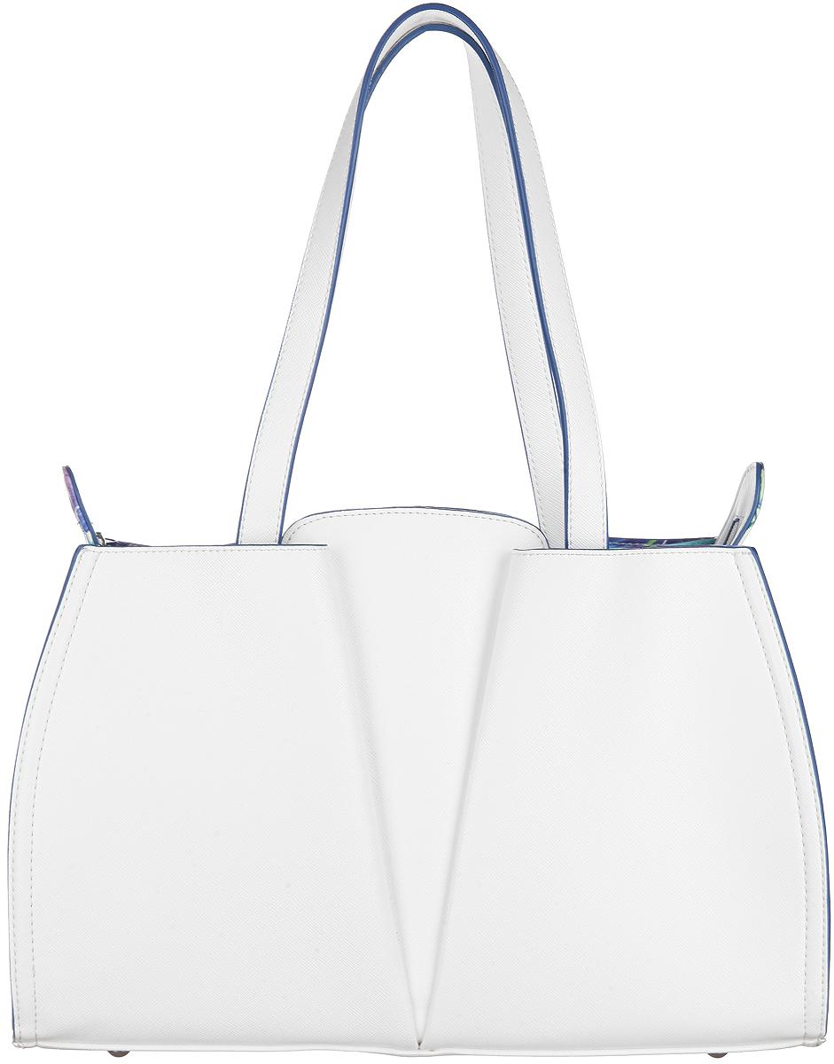 Сумка женская VelVet, цвет: белый. 589-061286-231S76245Изысканная женская сумка VelVet выполнена из искусственной кожи. Сумка закрывается на замок-молнию. Удобные ручки крепятся к корпусу сумки. Внутри одно отделение. Вместительное внутреннее отделение содержит накладной карман для телефона и мелких принадлежностей. Внутри сумка также содержит специальный ремешок с крепежом для ключей. С двух сторон сумка оснащена глубокими карманами на магнитных кнопках. Дно дополнено металлическими ножками, защищающими изделие от повреждений. Модель выполнена в оригинальном дизайне, декорирована металлической фурнитурой. Сумка - это стильный аксессуар, который сделает ваш образ изысканным и завершенным. Классические формы и оригинальное оформление сумки подчеркнет ваше отменное чувство стиля.