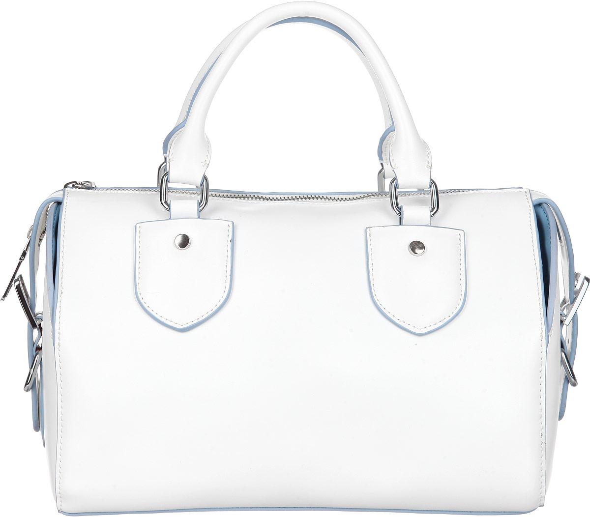 Сумка женская Calipso, цвет: белый, голубой. 019-620986-172S76245Изысканная женская сумка Calipso выполнена из натуральной кожи. Сумка закрывается на замок-молнию. Удобные ручки крепятся к корпусу сумки на металлическую фурнитуру серебристого цвета. Внутри одно отделение. Вместительное внутреннее отделение содержит два накладных кармана для телефона и мелких принадлежностей и врезной карман на молнии. Снаружи на задней стенке сумки размещен вшитый карман на молнии. Сумка оснащена съемным плечевым ремнем регулируемой длины, который позволит носить изделие как в руках, так и на плече. Сумка выполнена в оригинальном дизайне, по бокам декорирована оригинальными ремешками. Дно дополнено металлическими ножками, защищающими изделие от повреждений. Практичная и стильная сумка прекрасно завершит ваш образ.