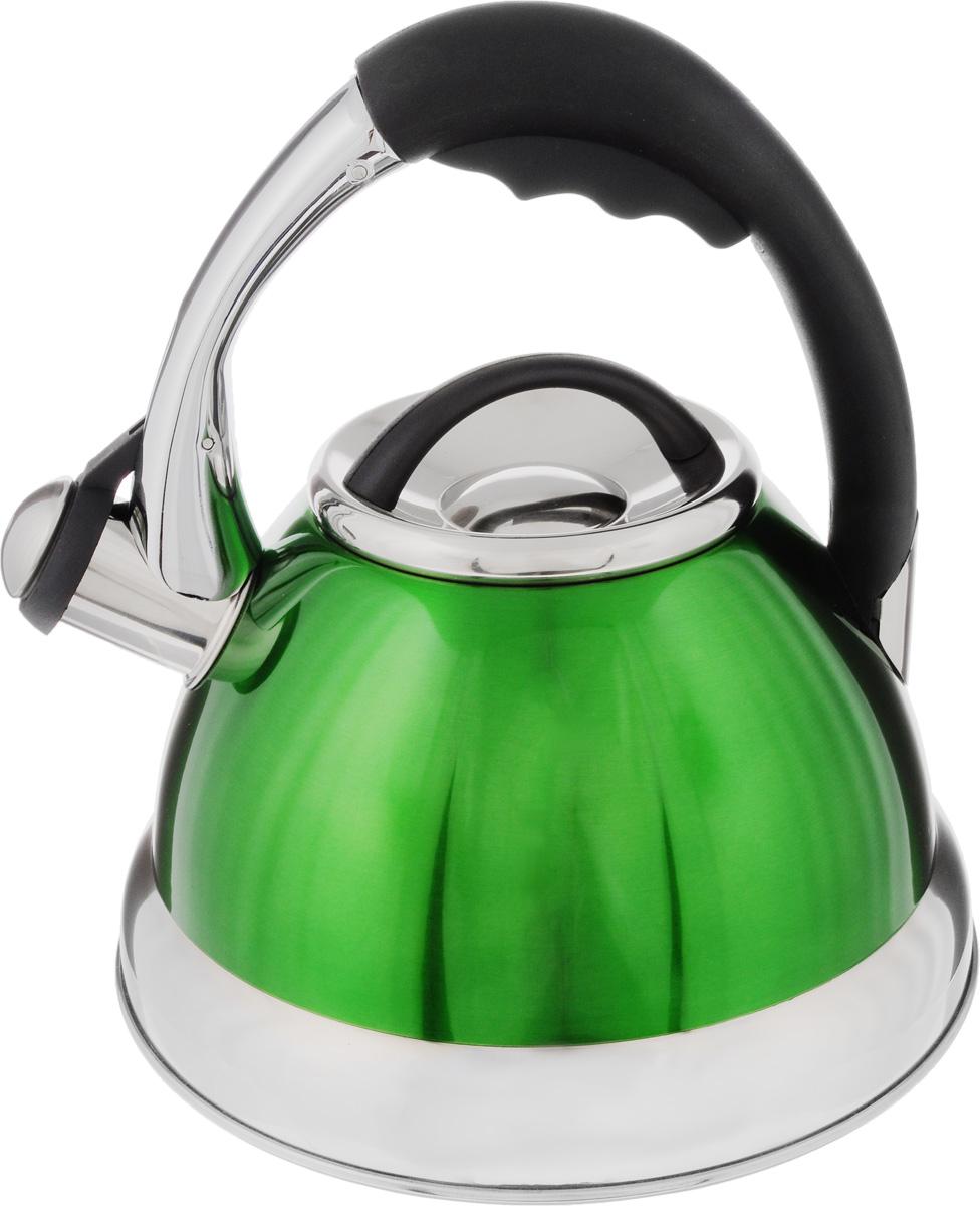 Чайник Mayer & Boch, со свистком, цвет: зеленый, черный, серебристый, 2,6 л. 3947VT-1520(SR)Чайник Mayer & Boch выполнен из нержавеющей стали высокой прочности. При кипячении сохраняет все полезные свойства воды. Весьма гигиеничен и устойчив к износу при длительном использовании. Гладкая и ровная поверхность существенно облегчает уход за посудой. Чайник оснащен кнопкой для открывания носика и свистком, который громко оповестит о закипании воды. Удобная эргономичная ручка выполнена из пластика. Такой чайник идеально впишется в интерьер любой кухни и станет замечательным подарком к любому случаю. Подходит для всех типов плит, включая индукционные. Можно мыть в посудомоечной машине.Диаметр чайника (по верхнему краю): 10 см. Высота чайника (с учетом ручки): 24 см.Высота чайник (без учета ручки и крышки): 12,5 см.Диаметр индукционного дна: 16 см.