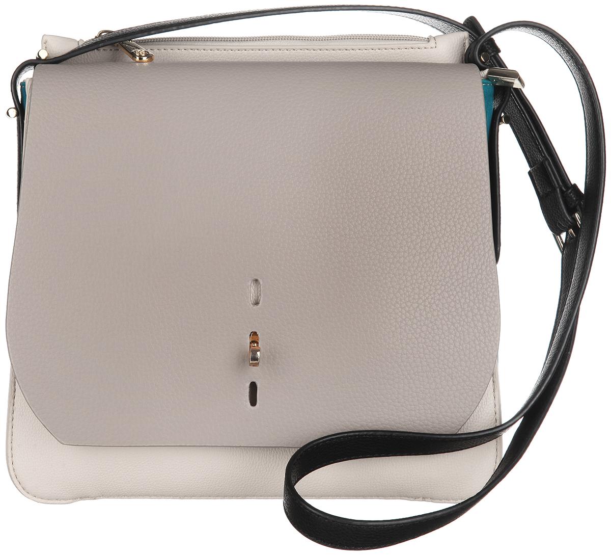 Сумка женская Calipso, цвет: серый, молочный. 432-151286-231S76245Изысканная женская сумка Calipso выполнена из искусственной кожи с замшевыми вставками по бокам. Сумка закрывается на замок-молнию и дополнительно клапаном на замок-вертушку в трех уровнях. Внутри одно отделение. Вместительное внутреннее отделение содержит два накладных кармана для телефона и мелких принадлежностей и врезной карман на молнии. Внутри модель также содержит специальный ремешок с крепежом для ключей. Сверху расположен глубокий врезной карман на молнии. Между ним и основным отделением расположен глубокий внутренний карман для бумаг и других мелочей. Сумка оснащена оригинальным, съемным плечевым ремнем регулируемой длины, который позволит носить изделие как в руках так и на плече. Модель выполнена в оригинальном дизайне, декорирована металлической фурнитурой золотистого цвета.Практичная и стильная сумка прекрасно завершит ваш образ.