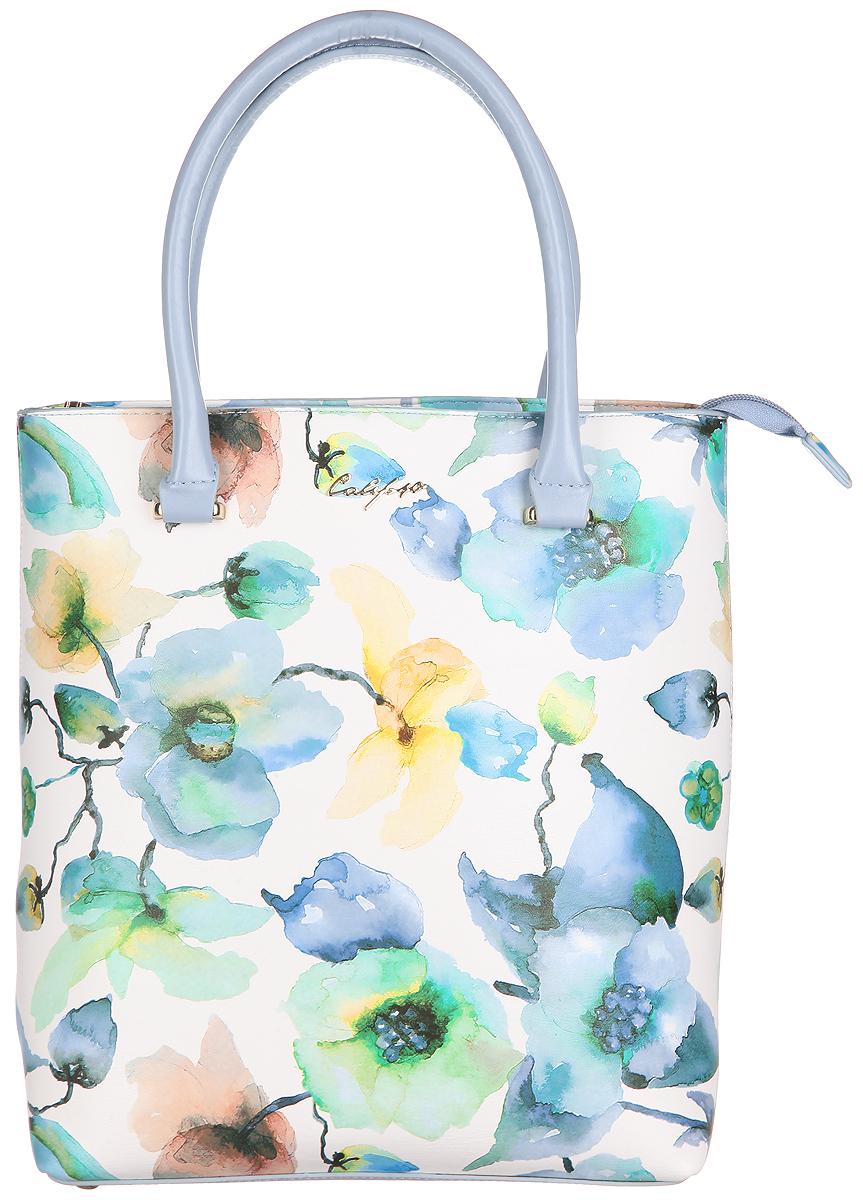 Сумка женская Calipso, цвет: белый, голубой, зеленый. 812-171286-172BM8434-58AEСтильная женская сумка Calipso выполнена из искусственной кожи и оформлена цветочным принтом. Изделие имеет одно основное отделение, разделенное пополам карманом-средником на застежке-молнии. Закрывается сумка на застежку-молнию. Внутри находятся два накладных открытых кармана и прорезной карман на застежке-молнии. Снаружи, на задней стенке расположен прорезной карман на застежке-молнии. Изделие оснащено двумя удобными ручками. Основание изделия защищено от повреждений металлическими ножками.Роскошная сумка внесет элегантные нотки в ваш образ и подчеркнет ваше отменное чувство стиля.