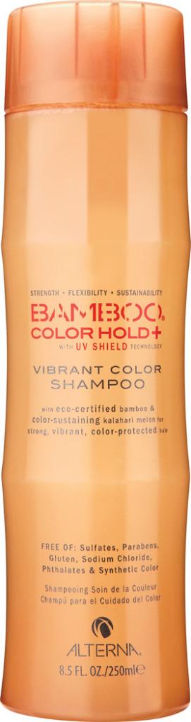 Alterna Шампунь для ухода за цветом Bamboo Color Care UV+ Vibrant Color Shampoo - 250 мл47010Нежно очищает, питает и увлажняет волосы, закладывая основной фундамент для сильных и здоровых волос. Обеспечивает волосам защиту от ультрафиолетовых лучей спектра UVA/UVB. Предотвращает вымывание цвета в процессе ухода за волосами и сохраняет насыщенность оттенка. Обладает наивысшей степенью по защите окрашенных волос. Повышает эластичность волос и придает оттенку окрашенных волос яркость и многомерное сияние. Содержит устойчивые фильтры, которые защищают волосы от окислительного повреждения. Масло семян дыни Калахари обеспечивает наивысшую защиту цвета волос, не утяжеляя волосы. Color care UV Vibrant Color Shampoo бережно ухаживает за окрашенными волосами, уберегает их от вредного воздействия ультрафиолетовых лучей, повышает эластичность волос и придает им ослепительный блеск.Результат: Шампунь глубоко питает окрашенные волосы и придает оттенку многомерный блеск и очаровательное сияние.