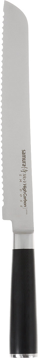 Нож для нарезки хлеба Samura Mo-V, длина лезвия 23 см. SM-0055/163239Нож для нарезки хлеба Samura Mo-V изготовлен из высокопрочной нержавеющей стали. Оптимальная твердость лезвия увеличивает его износостойкость. Эргономичная рукоятка выполнена из стеклопластика, благодаря чему она не сломается и не потеряет вид. Рукоятка удобно лежит в руках и делает резку удобной и безопасной.Благодаря длинному клинку и зубчатой режущей кромке нож позволит легко нарезать хлебобулочные изделия, не сминая их и не кроша сердцевину. Его острие опущено вниз, центр тяжести смещен вперед, что позволяет прикладывать меньше усилий при работе ножом. Такой нож займет достойное место среди аксессуаров на вашей кухне. Не рекомендуется мыть в посудомоечной машине.Общая длина ножа: 37 см.