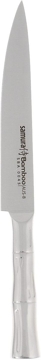 Нож для нарезки Samura Bamboo, длина лезвия 19,4 см. SBA-0045SBA-0023Нож для нарезки Samura Bamboo изготовлен из высококачественной нержавеющей стали. Эргономичная рукоятка с рельефным узором не скользит в руках и делает нарезку удобной и безопасной. Благодаря уникальной формуле стали и качеству ее обработки, лезвие имеет высокий показатель твердости, что позволяет ему долго сохранять острую заточку. Используйте кухонные ножи только на разделочной доске из дерева или пластика (стеклянные доски способны затупить любую сталь). Нож предназначен для нарезки филе, фруктов и других продуктов.Такой нож займет достойное место среди аксессуаров на вашей кухне.Можно мыть в посудомоечной машине.Длина ножа: 32 см.