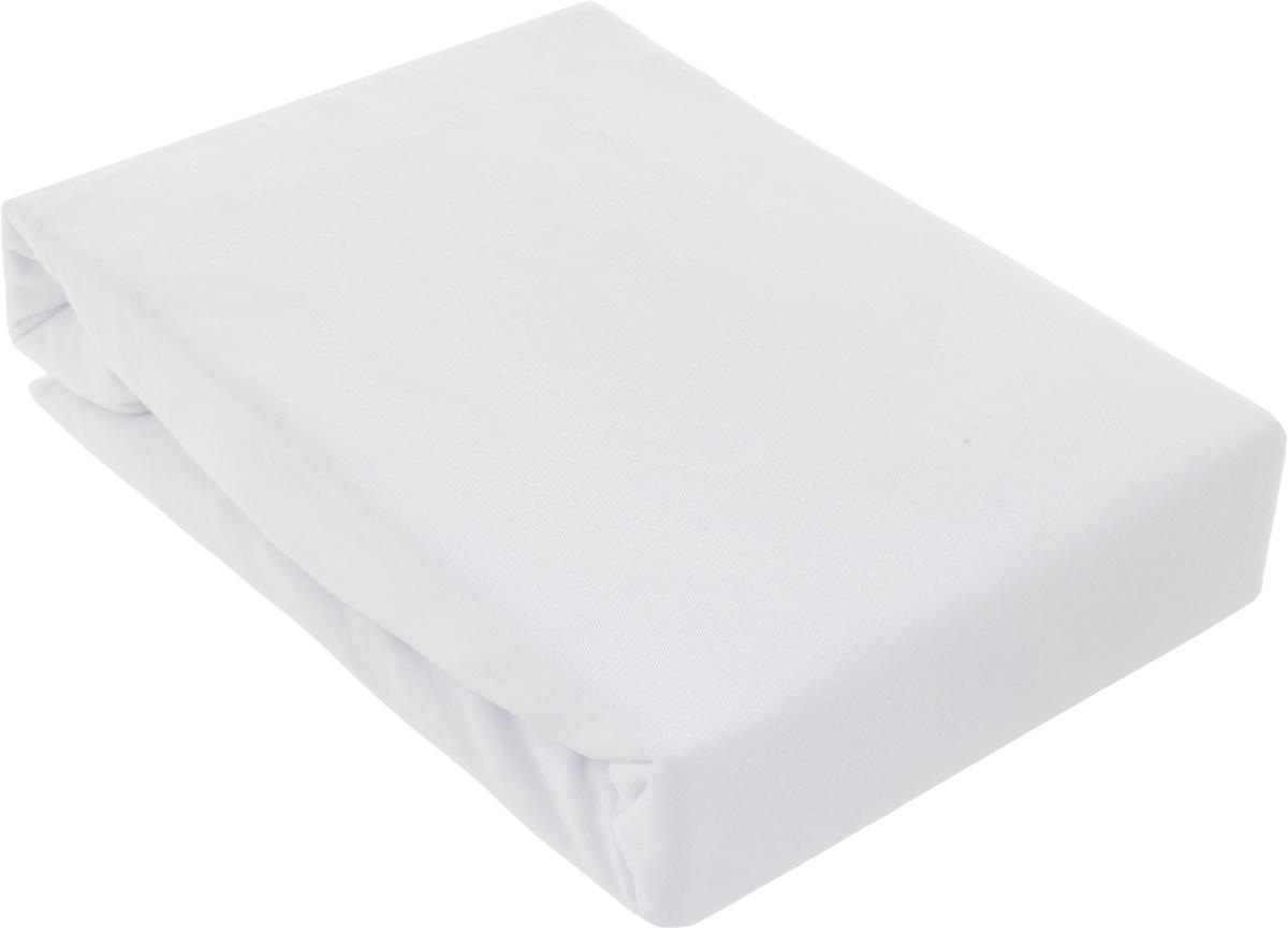 Простыня на резинке ЭГО, цвет: белый, 180 х 200 смЭ-ПР-03-35_белыйПростыня ЭГО изготовлена из 100% хлопка высокого качества. Натуральный, экологически чистый материал обеспечивает высокую гигиеничность изделия. Наличие резинки позволяет легко зафиксировать простыню на матрасе. Она не сминается и не комкается во время сна. Если простыня немного больше кровати, с помощью резинки ее можно подогнать под размер кровати, учитывая толщину матраса. Также ее можно использовать в качестве наматрасника.