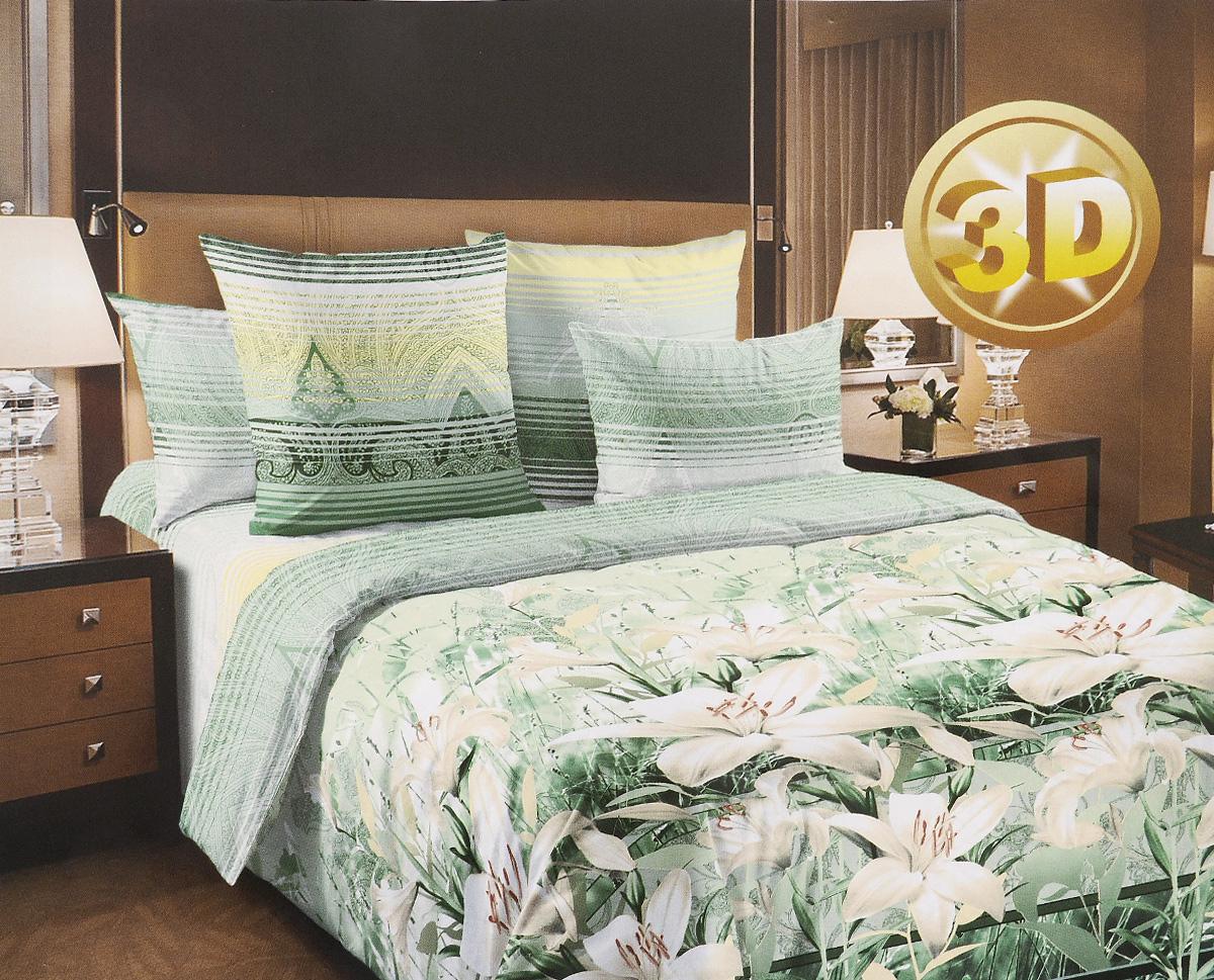 Комплект белья 3D ТексДизайн Луиза, 2-спальный, наволочки 70х70, цвет: зеленый, белый, желтый391602Комплект постельного белья ТексДизайн Луиза является экологически безопасным для всей семьи, так как выполнен из перкаля премиум класса - экологически чистой ткани на основе натурального хлопка.Комплект состоит из пододеяльника, простыни и двух наволочек. Постельное белье оформлено ярким рисунком цветов с эффектом 3D и имеет изысканный внешний вид. Перкаль - это тонкая и легкая хлопчатобумажная ткань высокой плотности полотняного переплетения, сотканная из пряжи высоких номеров. При изготовлении перкаля используются длинноволокнистые сорта хлопка, что обеспечивает высокие потребительские свойства материала.Перкаль очень шелковистая и мягкая на ощупь ткань, нежная и тонкая, но при этом удивительно прочная. Несмотря на свою утонченность, перкаль очень практичен - это одна из самых износостойких тканей для постельного белья.Королевское искушение - коллекция постельного белья, которое открывает для вас волшебный мир ярких дизайнов: на ваших глазах расцветают сказочные цветы, изящные линии сплетаются в волшебные узоры, напоминающие настоящее кружево. Достойным обрамлением коллекции стала великолепная подарочная упаковка, которая превращает каждый комплект в желанный подарок.