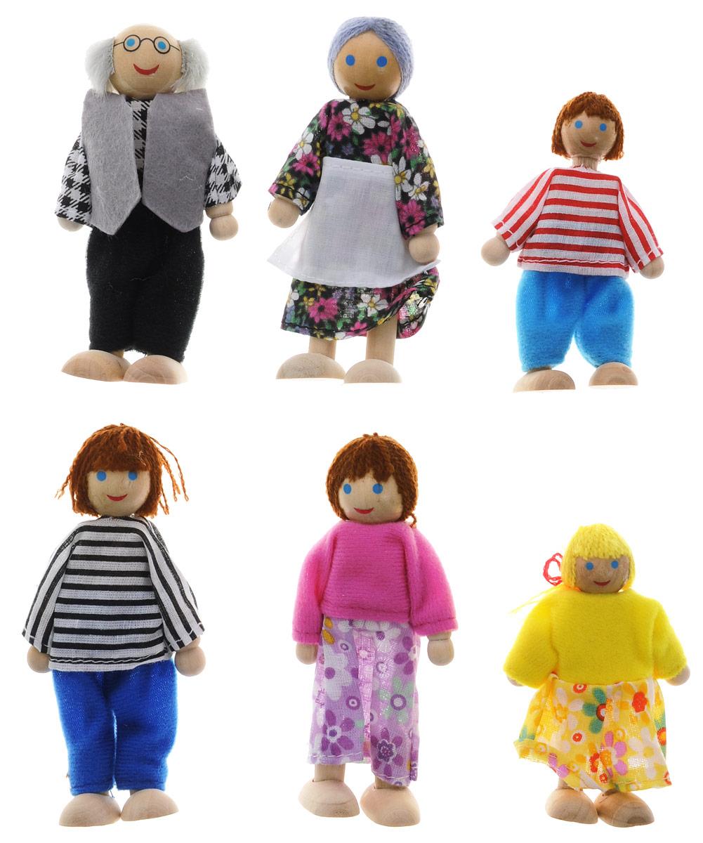 """Набор кукол """"Игрушки из дерева"""" включает 6 кукол: маму и папу, мальчика и девочку, бабушку и дедушку. Куклы выполнены из высококачественного натурального дерева и одеты в яркие костюмы. При оформлении кукол использовались стойкие абсолютно безопасные краски на водной основе. Игра с куклами способствует развитию у малышей мелкой моторики рук, воображения, повышает способность мыслить, создавать новые образы и фантазировать, способствует развитию социальных навыков, побуждает ребенка исследовать и понимать окружающий мир. Деревянные детали набора гладко отшлифованы, без """"заусениц"""", """"заноз"""" и """"сучков"""". Данный качественный продукт из отечественного дерева отличает характерный аромат натуральной древесины. Продукт экологичен, полностью отсутствуют химические добавки."""