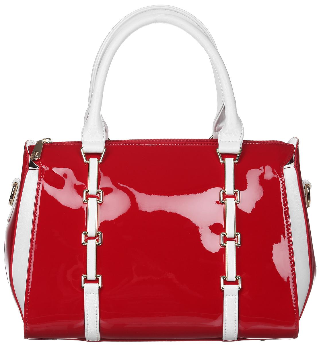 Сумка женская Calipso, цвет: красный, белый. 800-041286-172S76245Стильная женская сумка Calipso, выполненная из искусственной лакированной кожи, дополнена вставками из искусственной кожи с фактурным тиснением. Изделие имеет одно основное отделение, закрывающееся на застежку-молнию. Внутри находятся прорезной карман на застежке-молнии, два накладных открытых кармана и накладной открытый карман с отделением на застежке-молнии. Снаружи, на задней стенке расположен прорезной карман на застежке-молнии. Модель оснащена двумя удобными ручками. В комплект входит съемный регулируемый наплечный ремень. Основание изделия защищено от повреждений металлическими ножками. Роскошная сумка внесет элегантные нотки в ваш образ и подчеркнет ваше отменное чувство стиля.