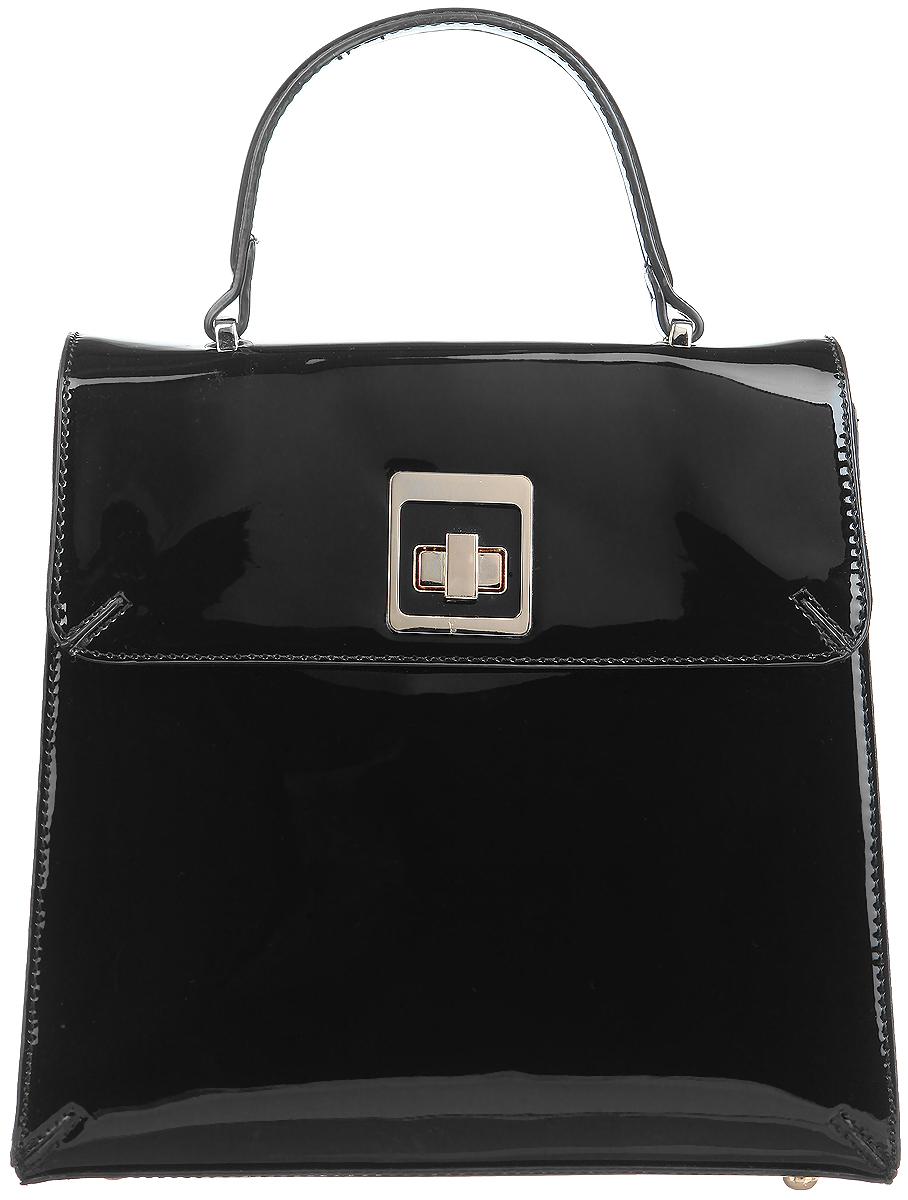 Сумка женская Calipso, цвет: черный. 444-011286-231S76245Элегантная женская сумка Calipso выполнена из искусственной лакированной кожи. Изделие имеет одно основное отделение, закрывающееся на клапан с поворотным замком. Внутри находятся прорезной карман на застежке-молнии, два накладных открытых кармана и ремешок с металлическим кольцом для ключей. Снаружи, на задней стенке расположен прорезной карман на застежке-молнии. Модель оснащена одной удобной ручкой. В комплект входит съемный регулируемый наплечный ремень. Основание изделия защищено от повреждений металлическими ножками. Роскошная сумка внесет элегантные нотки в ваш образ и подчеркнет ваше отменное чувство стиля.
