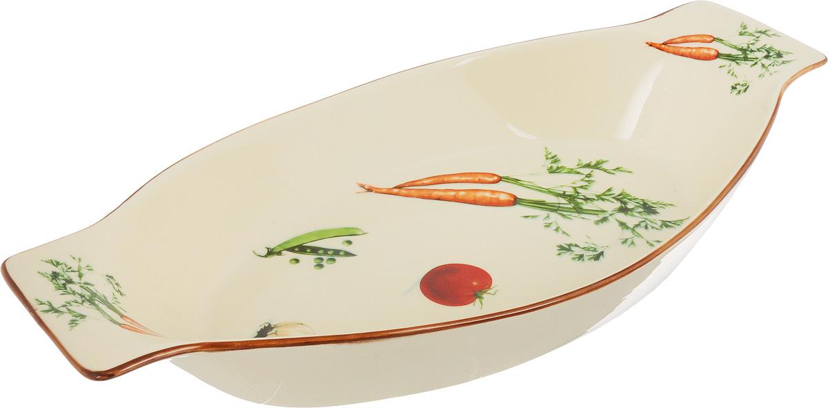 Форма для запекания Patricia Овощи, овальная, 39 х 24 см391602Ни для кого не секрет, что у настоящей хозяйки красивая посуда не только та, в которой она подает свои блюда, но и та, в которой она готовит. Овальная форма для запекания Patricia Овощи выполнена из жаропрочной керамики и оснащена ручками. Посуда из керамики славится своей прочностью и функциональностью. Приятный глазу дизайн и отменное качество формы будут долго радовать вас, а угощения, приготовленные в этом блюде - ваших гостей.Не рекомендуется использовать в микроволновой печи и посудомоечной машине. Внутренний размер формы: 39 х 24 см. Размер формы (с учетом ручек): 50,5 х 24 см.Высота формы: 8 см.