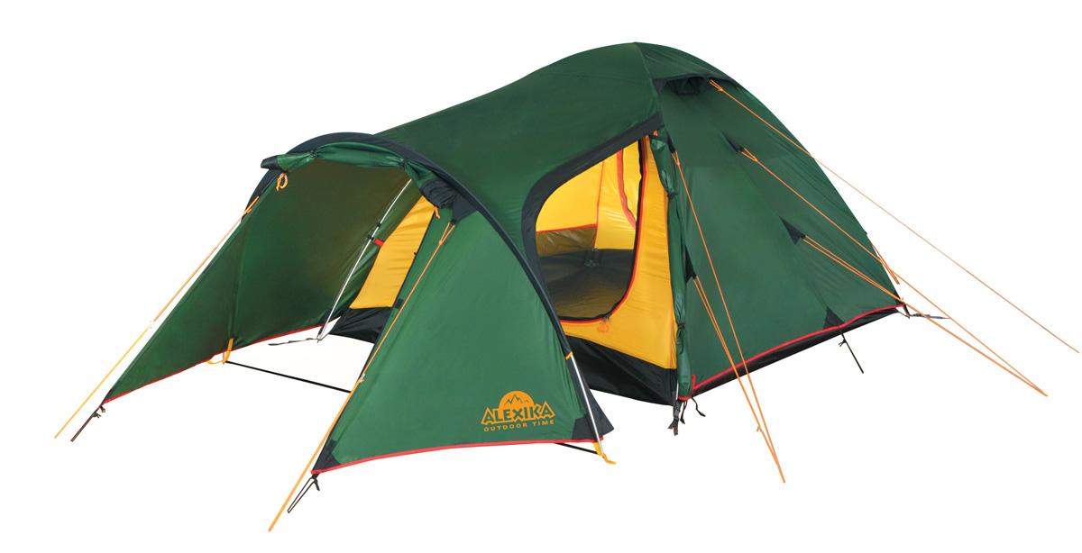 Палатка Alexika Tower 4 GreenKOC-H19-LEDТрекинговая палатка купольного типа проста в установке и компактна в сложенном виде. Отличается современным дизайном и функциональностью. Особенно удобна для путешественников, предпочитающих перемещаться на велосипеде и с объемным багажом. Tower 4 - это надежная туристическая палатка с небольшим весом, изготовленная из непромокаемого плотного материала, способного надежно защитить от осадков и ветра. Пригодна для временного проживания и хранения велосипедов, а также большого количества вещей. Большой тамбур можно использовать как столовую. Металлический каркас с высококачественными дугами и проклеенными швами делают палатку пригодной как для коротких походов, так и для длительного активного отдыха. Палатка оснащена системой быстрой фиксации натяжения тента. Данная палатка отлично подходит для семейного отдыха, вмещает до 4 человек. Комфортабельное пространство для спальни, удобный расширенный тамбур, три входа делают палатку удобной для расположения в ней нескольких человек, в том числе и детей. Вентиляционная система представлена двумя окнами с ветровыми клапанами, расположенными в верхней части купола. Во внутренней палатке в наличии противомоскитная сетка, шесть карманов, кольцо для фонаря и полочка для небольших предметов. Вес: 5,4 кг. Количество мест: 4. Сезонность: весна-осень. Размер: 420 x 220 x 125 см. Размер в чехле: 20 х 52 см. Материал тента: Polyester 190T PU 4000 mm. Материал дна: Polyester 150D Oxford PU 6000 mm. Внутренняя палатка: есть. Материал дуг: Alu 8.5 Alu 9.5. Ветроустойчивость: средняя. Количество входов: 3. Цвет: зеленый. Область применения: трекинг. Технологии:Пропитка, задерживающая распространение огня. Швы герметизированы термоусадочной лентой. Узлы палатки, испытывающие высокие нагрузки, усилены более прочной тканью. Край тента обшит прочной стропой. Молнии на внешнем тенте фиксируются алюминиевым крючком. Внутренняя палатка оснащена противомоскитной сеткой, шестью карманами, кольцом для фонаря и