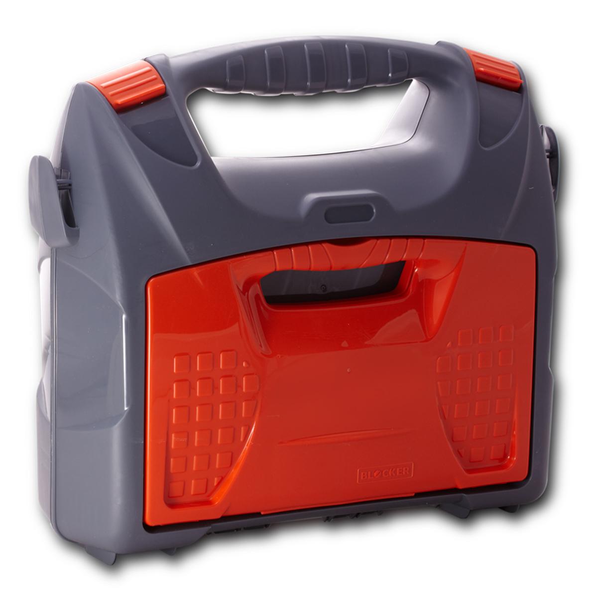 Кейс для электроинструмента Blocker Elekoffer +, с органайзером, цвет: серый, оранжевый, 415 х 361 х 141 мм3258-200Кейс для электроинструмента Blocker Elekoffer + имеет оптимальную форму для размещения большинства известных домашних электроинструментов: дрели, угловой шлифовальной машины (болгарки), электролобзика, шуруповерта. Отличительными особенностями кейса являются: съемный органайзер для сверел и буров, оригинальный дизайн, эргономичная ручка, боковые зацепы для наплечного ремня.