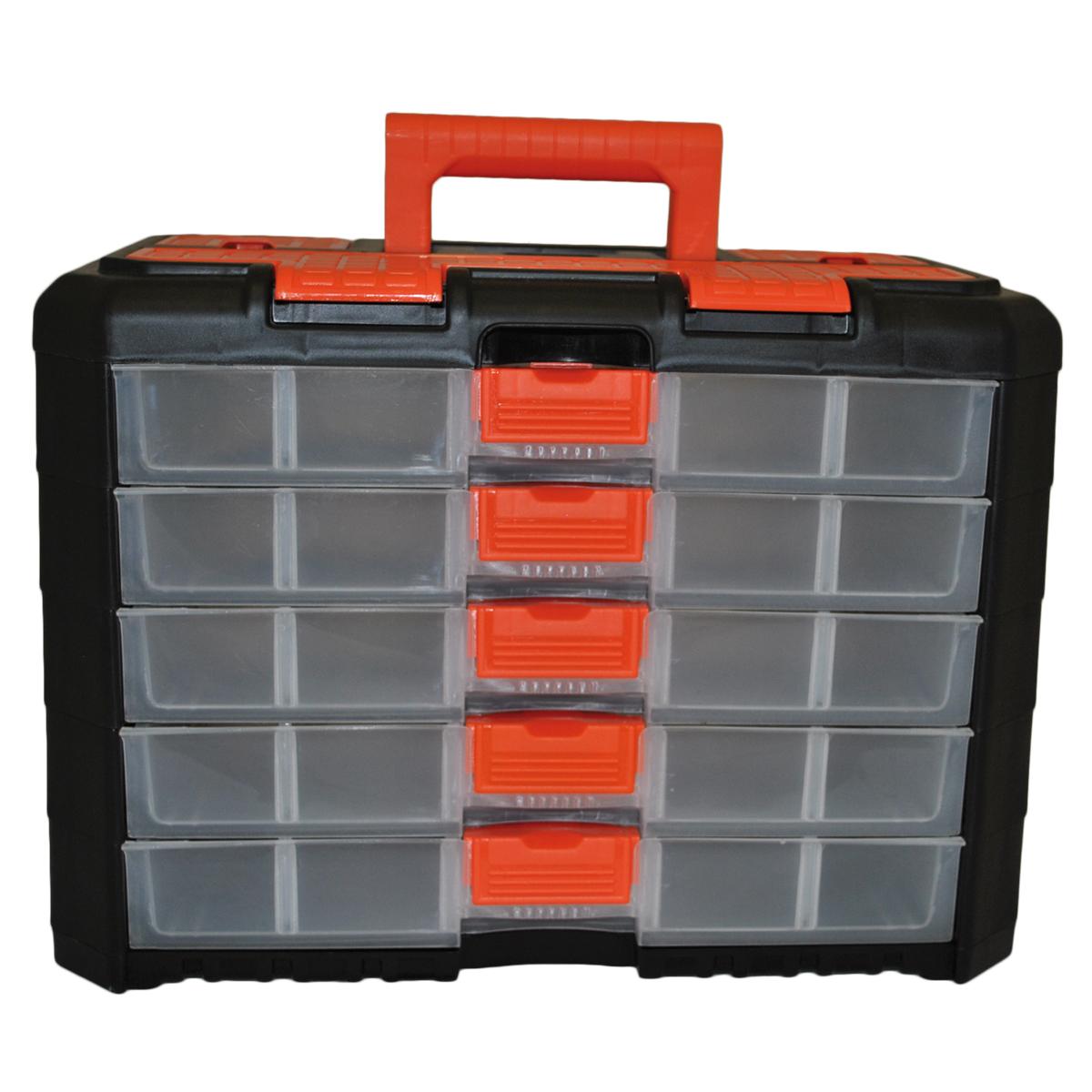 Органайзер для мелочей Blocker Grand, цвет: черный, оранжевый, 400 х 219 х 287 ммBR3738ЧРОРУниверсальный сет для мелочей Blocker Grand с ручкой для переноски выполнен из высококачественного полипропилена. Секции фиксируются замками, которые надежно защищают от случайного открывания. Внутри секции разделены съемными перегородками, что позволяет организовать внутреннее пространство в зависимости от потребностей и делает сет пригодным для хранения не только мелочей, но и предметов средней величины. Встроенные секции на крышке подходят для хранения скобяных изделий.