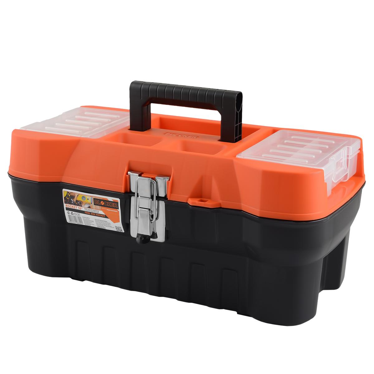 Ящик для инструментов Blocker Rocket, цвет: черный, оранжевый, 408 х 210 х 180 мм2740-H10_z01Современный, функциональный и продвинутый ящик Blocker Rocket предназначен для хранения и переноски инструментов. Стальной замок помогает ящику выдерживать повышенную нагрузку. Крышка снабжена блоками для хранения мелких скобяных изделий.