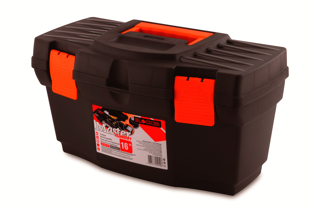 Ящик для инструментов Blocker Master Economy, цвет: черный, оранжевый, 405 х 215 х 230 ммКТ700447Ящик Blocker Master Economy - это классический ящик эконом-класса для хранения инструмента. Оптимальная форма, никаких переплат за дополнительные опции, но в тоже время абсолютно полноценный ящик с внутренним лотком. Крепкий и надежный. Отверстие для крепления навесного замка позволит защитить инструмент при транспортировке.
