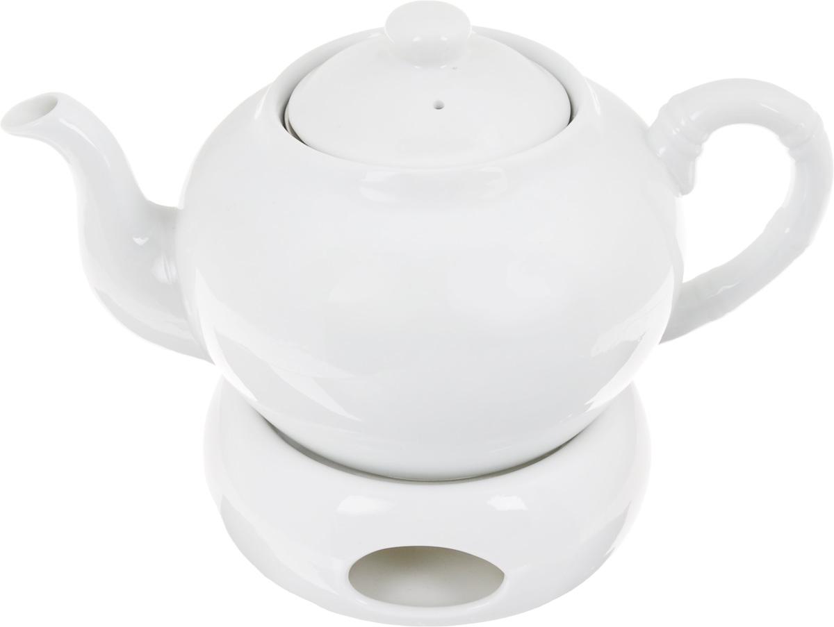 Чайник заварочный Patricia, с подставкой для подогрева, с фильтром, 1 л68/5/4Заварочный чайник Patricia изготовлен из высококачественного фарфора с гладким глазурованным покрытием. Изделие выполнено в классическом стиле. Чайник снабжен съемным металлическим фильтром и удобной ручкой. В основании носика расположены фильтрующие отверстия от попадания чаинок в чашку. Благодаря специальной подставке для подогрева с помощью свечи (в комплект не входит), чайник долго остается горячим. Любой чай в таком изысканном чайнике станет для вас наслаждением, поводом отдохнуть и перевести дыхание. Он прекрасно украсит сервировку стола к чаепитию. Благодаря красивому утонченному дизайну, качеству исполнения и большому объему он станет хорошим подарком друзьям и близким. Не рекомендуется мыть в посудомоечной машине и использовать в микроволновой печи. Диаметр (по верхнему краю): 8,5 см. Внутренний диаметр: 6,5 см.Высота чайника (без учета крышки): 10 см. Высота фильтра: 5 см.Размер подставки для подогрева: 12,5 х 12,5 х 5 см.