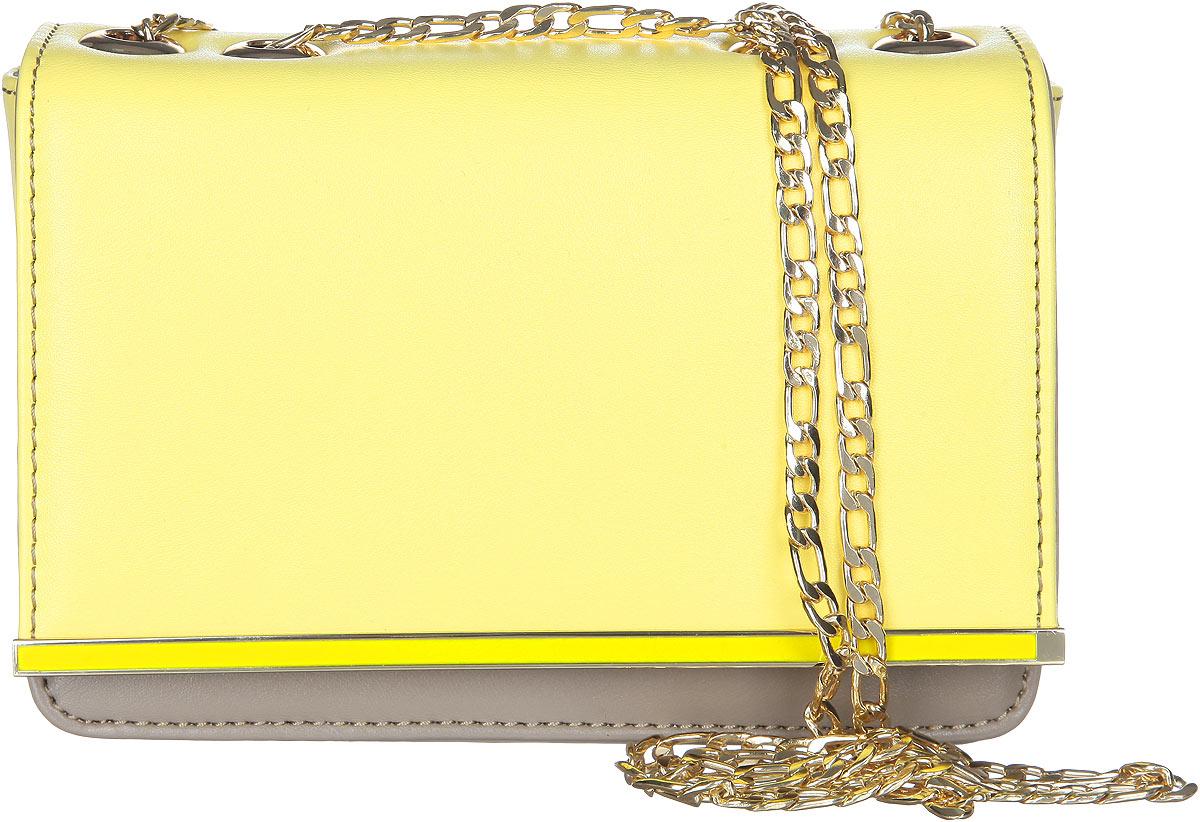 Сумка женская VelVet, цвет: желтый, серо-бежевый. 583-141286-23110130-11Стильная женская сумка VelVet выполнена из искусственной кожи. Изделие имеет одно основное отделение.Закрывается сумка на клапан с магнитной кнопкой. Клапан оформлен декоративным металлическим элементом. Внутри, на передней и задней стенках расположены карманы. Основное отделение содержит накладной открытый карман и прорезной карман на застежке-молнии. Снаружи, на задней стенке расположен накладной открытый карман. Изделие оснащено наплечным ремнем в виде цепочки. Роскошная сумка внесет элегантные нотки в ваш образ и подчеркнет ваше отменное чувство стиля.