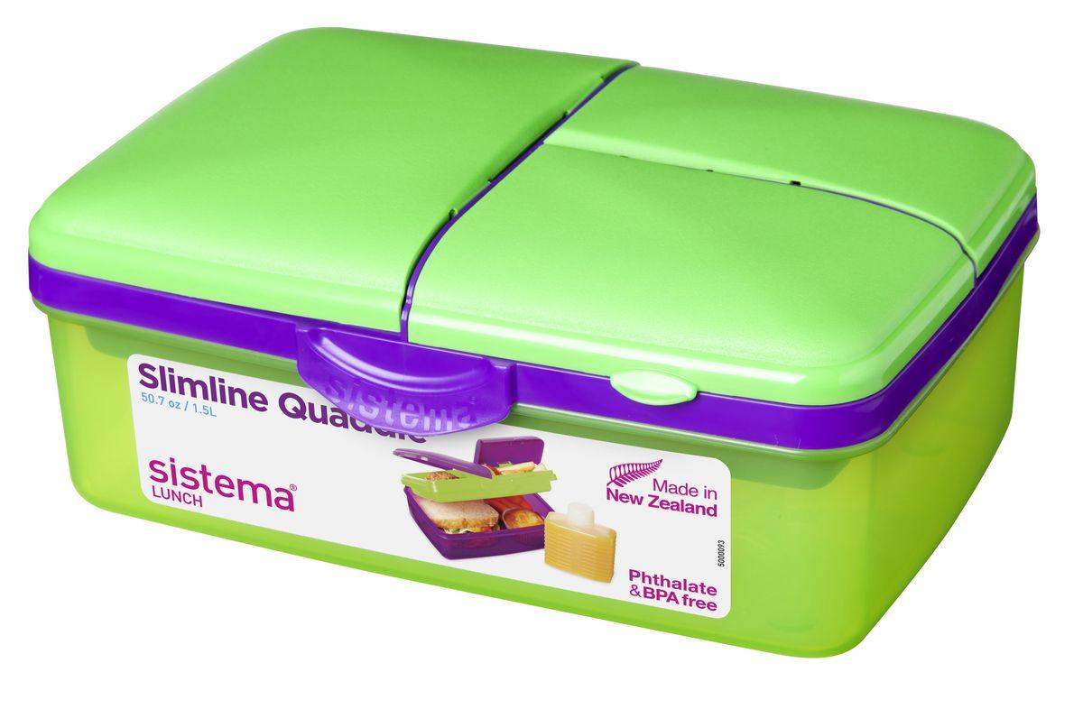 Ланч-бокс Sistema Lunch, 4-секционный, с бутылкой, цвет: салатовый, фиолетовый, 1,5 лVAC-REC-14 OrangeЛанч-бокс Sistema Lunch представляет собой контейнер универсального назначения. Он имеет четыре секции, предназначенные для хранения и переноски различных продуктов. На крышке имеется силиконовая прокладка, которая способствует герметичному закрыванию клипсами, которые при необходимости можно заменить. В комплект входит бутылочка, в которую вы можете налить любимый напиток и не есть всухомятку.Преимущества ланч-бокса:- технология герметичности продумана таким образом, что ароматы блюд не испаряются при хранении, при этом каждую емкость легко открыть;- конструкция позволяет долго сохранять свежесть продуктов, не допуская их пересыхания или увлажнения;- предметы изготовлены из пластика, который не содержит бисфенола А и S, фталатов;- изделия безопасны для использования на детской кухне;- можно применять для хранения горячего, замораживания и разогрева пищи в микроволновых печах.Благодаря компактным размерам и относительно большой вместимости ланч-бокса Sistema Lunch подойдет для людей, чья жизнь проходит в постоянном движении. Кроме того, вам больше не придется носить с собой сразу несколько контейнеров.Можно мыть в посудомоечной машине.Общий размер ланч-бокса: 23 х 16 х 9 см.Объем ланч-бокса: 1,5 л.Размер бутылки: 11,5 х 9 х 4 см.