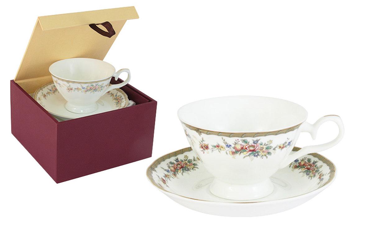 Чайная пара Emerald Изабелла, 2 предмета115510Чайная пара Emerald Изабелла состоит из чашки и блюдца, изготовленных из высококачественного костяного фарфора. Яркий дизайн изделий, несомненно, придется вам по вкусу.Чайная пара Emerald Изабелла украсит ваш кухонный стол, а также станет замечательным подарком к любому празднику.Объем чашки: 200 мл.