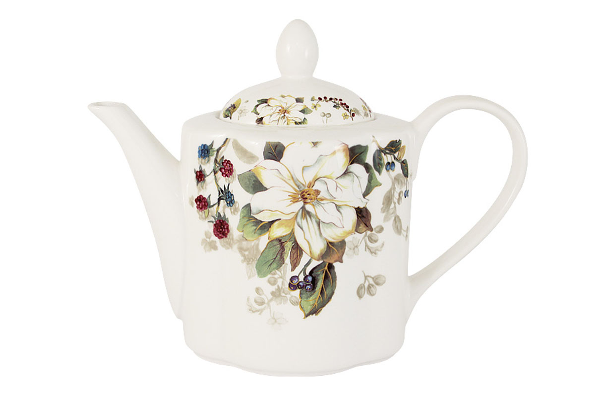 Чайник заварочный Imari Магнолия, 1 лFS-91909Заварочный чайник Imari Магнолия изготовлен из высококачественной керамики и декорирован изображением ягод и цветов. Нанесение сверкающей глазури, не содержащей свинца, придает изделию превосходный блеск и особую прочность. Такой чайник прекрасно подойдет для сервировки стола и станет незаменимым атрибутом чаепития. Благодаря качеству исполнения и красивому дизайну он станет отличным приобретением для вашей кухни.Не использовать в СВЧ. Мыть с применением жидких моющих средств и в посудомоечной машине.