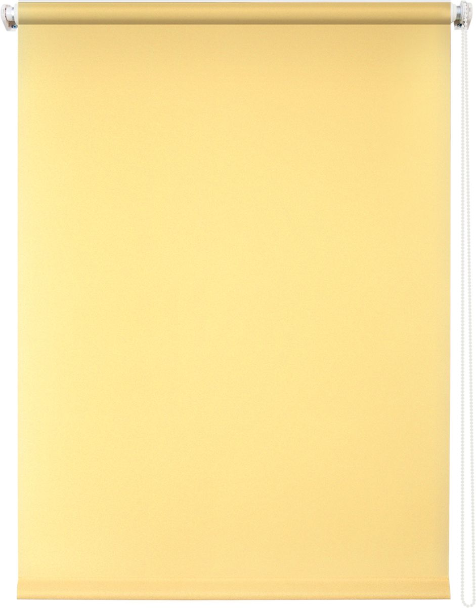 Штора рулонная Уют Плайн, цвет: светло-желтый, 90 х 175 см666059Штора рулонная Уют Плайн выполнена из прочного полиэстера с обработкой специальным составом, отталкивающим пыль. Ткань не выцветает, обладает отличной цветоустойчивостью и светонепроницаемостью.Штора закрывает не весь оконный проем, а непосредственно само стекло и может фиксироваться в любом положении. Она быстро убирается и надежно защищает от посторонних взглядов. Компактность помогает сэкономить пространство. Универсальная конструкция позволяет крепить штору на раму без сверления, также можно монтировать на стену, потолок, створки, в проем, ниши, на деревянные или пластиковые рамы. В комплект входят регулируемые установочные кронштейны и набор для боковой фиксации шторы. Возможна установка с управлением цепочкой как справа, так и слева. Изделие при желании можно самостоятельно уменьшить. Такая штора станет прекрасным элементом декора окна и гармонично впишется в интерьер любого помещения.