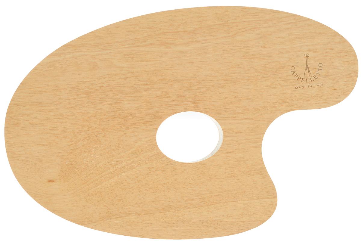 """Овальная палитра """"Cappelletto"""" изготовлена из высококачественного дерева бука и предназначена для смешивания красок. Изделие покрыто специальным защитным составом, что позволяет легко очистить инструмент после работы. Такая палитра станет незаменимым инструментом для художника. Размер палитры: 34,5 х 24,5 см."""