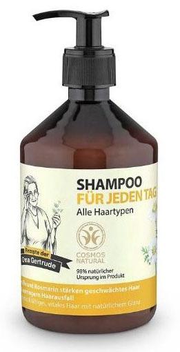Рецепты бабушки Гертруды Шампунь для волос для ежедневного применения, 500 мл7786В состав шампуня входят природные компоненты благодаря чему он мягко очищает и ухаживает за волосами, придавая им естественное сияние и силу. Розмарин богат витаминами А, С и В, незаменимыми жирными кислотами и эфирными маслами, которые питают волосы. Ромашка содержит каротин, флавонаиды и органические кислоты, она оказывает успокаивающее и антисептическое действие на кожу головы и корни волос. Особенности состава: 98% ингредиентов натурального происхождения, Пшеница и клюква защищают волосы, придают им эластичность и объем. Результат: волосы приобретают естественное, здоровое сияние, становятся заметно сильнее.