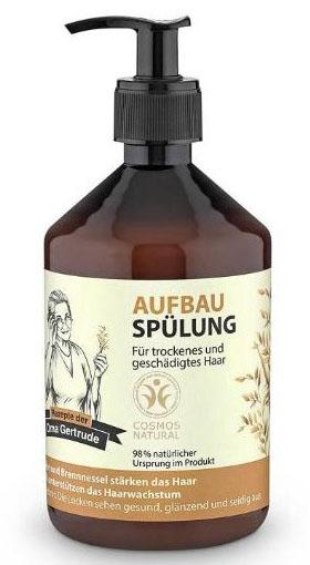 Рецепты бабушки Гертруды Бальзам для волос восстанавливающий, 500 млMP59.4DКондиционер ухаживает за сухими и поврежденными волосами, способствует восстановлению их структуры, возвращая здоровье и блеск, значительно облегчая процесс расчесывания. Органический экстракт овса содержит необходимые витамины и аминокислоты, которые способствуют интенсивному увлажнению и укреплению волос, делая их более гладкими и сияющими. Органический экстракт крапивы содержит витамины, органические кислоты, которые способствуют улучшению структуры волос и ускорению их роста. Особенности состава: 98% ингредиентов натурального происхождения, Овес и крапива хорошо подходят для укрепления волос, усиления их роста. Результат: локоны выглядят здоровыми, блестящими и шелковистыми.