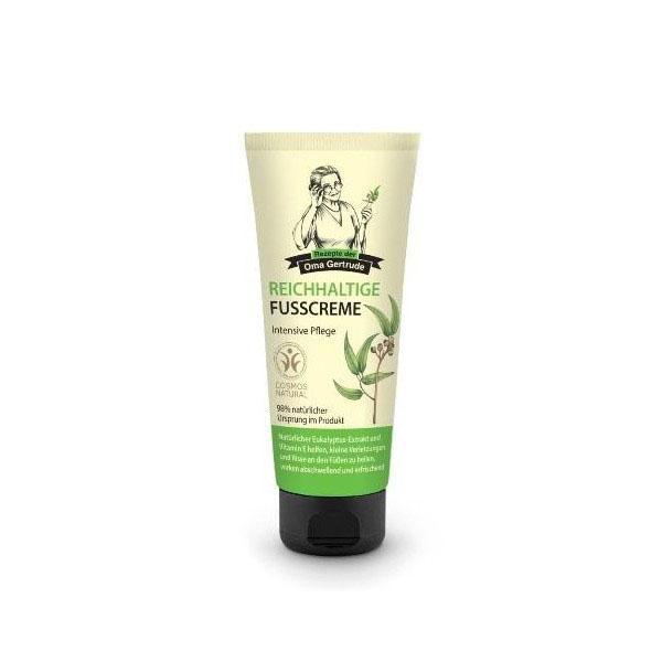 Рецепты бабушки Гертруды Крем для ног интенсивный, 75 мл086-02-33472В состав интенсивного крема для ног входят природные компоненты, которые питают и защищают кожу стоп от сухости, даря ощущение нежности и комфорта. Органический экстракт эвкалипта оказывает бактерицидное и противовоспалительное действие. Токоферол увлажняет и смягчает кожу, способствует заживлению мелких трещин и уменьшению отеков. Особенности состава: 98% ингредиентов натурального происхожденияРезультат: Эвкалипт и токоферол способствуют заживлению мелких трещин и снятию отеков.