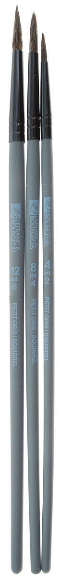 Набор кистей LeFranc Louvre, 3 шт. LF806741731003Кисти из набора LeFranc Louvre идеально подойдут для работы с акриловыми красками и прочими искусственными эмульсиями, а также с темперой, гуашью, акварелью и масляными красками. В набор входят кисти Ronde №4, 8, 12. Кисти изготовлены из беличьей щетины. Пластиковые ручки оснащены алюминиевыми втулками с двойным обжимом.Длина кистей: Ronde №4 - 19,8 см; №8 - 20,5 см; №12 - 21,1.Длина ворса: Ronde №4 - 1,2 см, №8 - 1,5 см, №12 - 1,8 см.